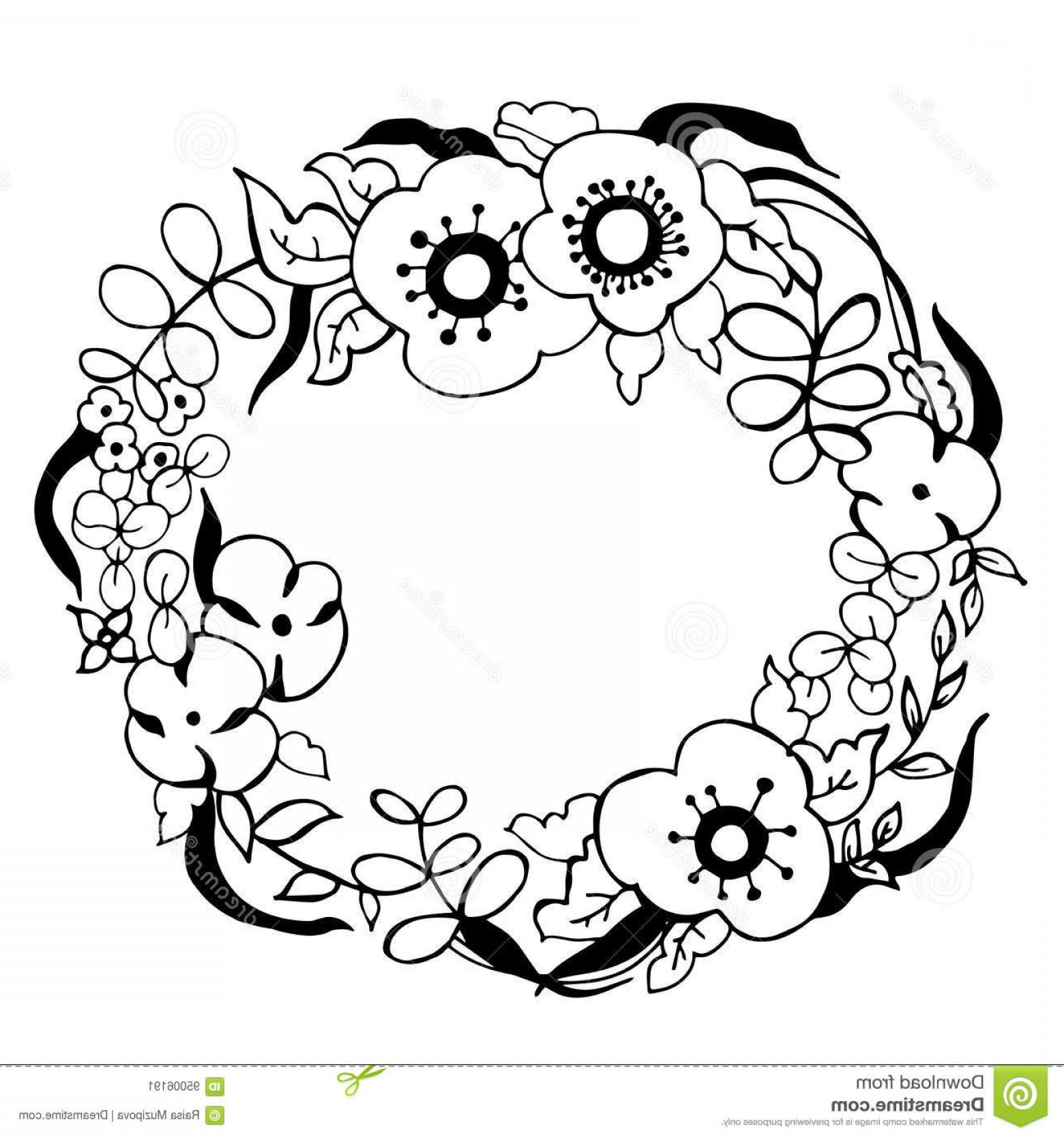 1560x1668 Stock Illustration Hand Drawn Flowers Floral Wreath Vector