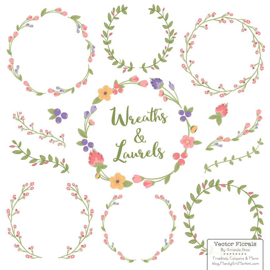 864x864 7 Laurel Wreaths Vector