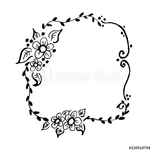 500x497 Beautiful Hand Drawn Floral Rustic Wreath Vector