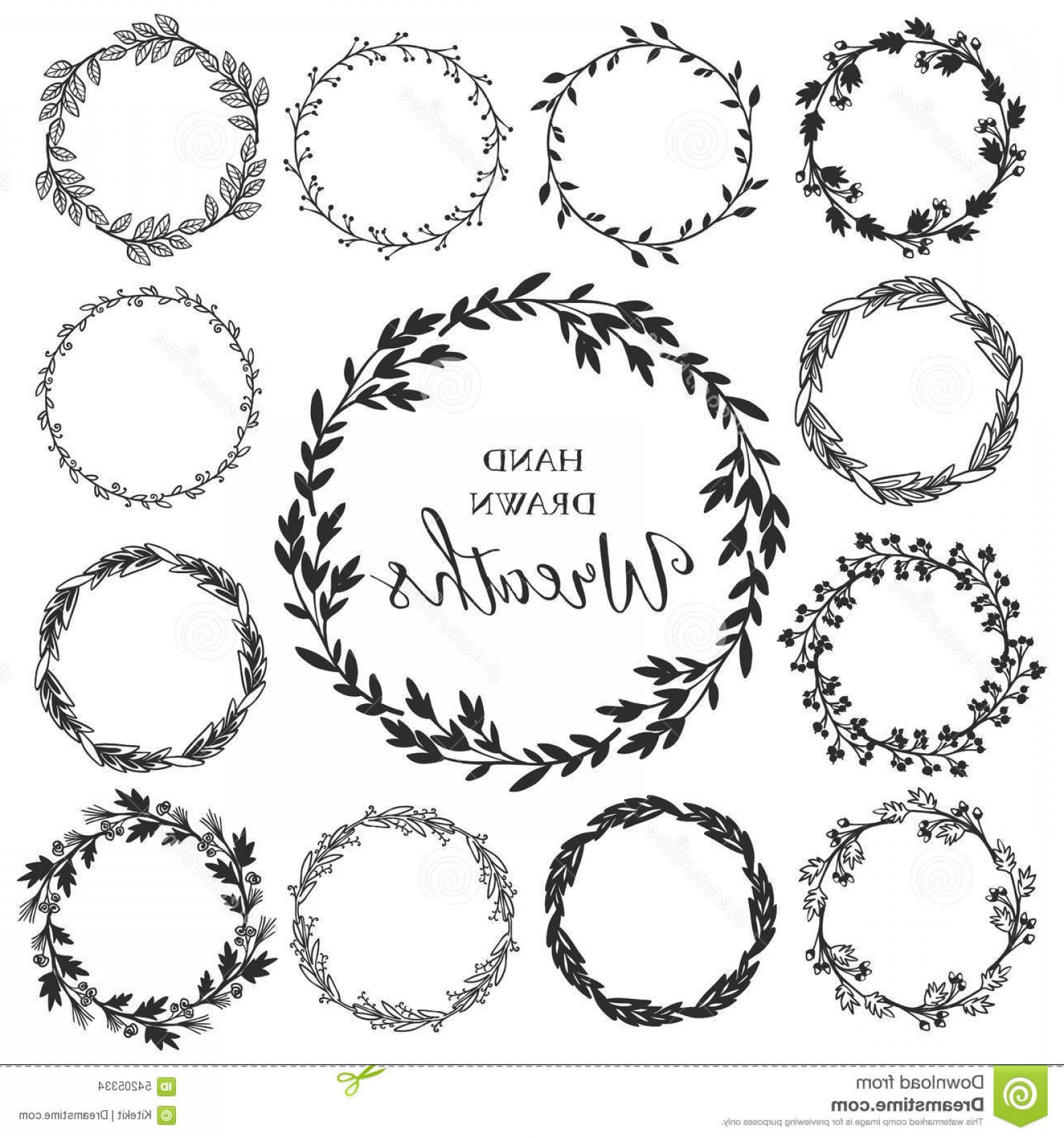 1560x1668 Black Floral Wreath Vector Shopatcloth