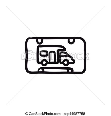 450x470 Rv Camping Sign Sketch Icon. Rv Camping Sign Vector Sketch Icon