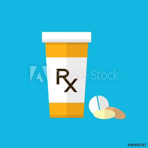 500x500 Pharmacy Design. Pill Bottle With Capsules And Pill. Flat Style