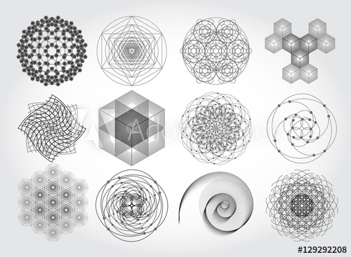500x367 Sacred Geometry Symbols And Elements Set. 12 In 1. Cosmic
