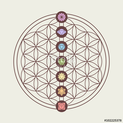 500x500 Chakra Icons On Sacred Geometry Design Stock Image And Royalty