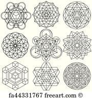 180x195 Free Art Print Of Sacred Geometry Symbols And Elements Set. Sacred