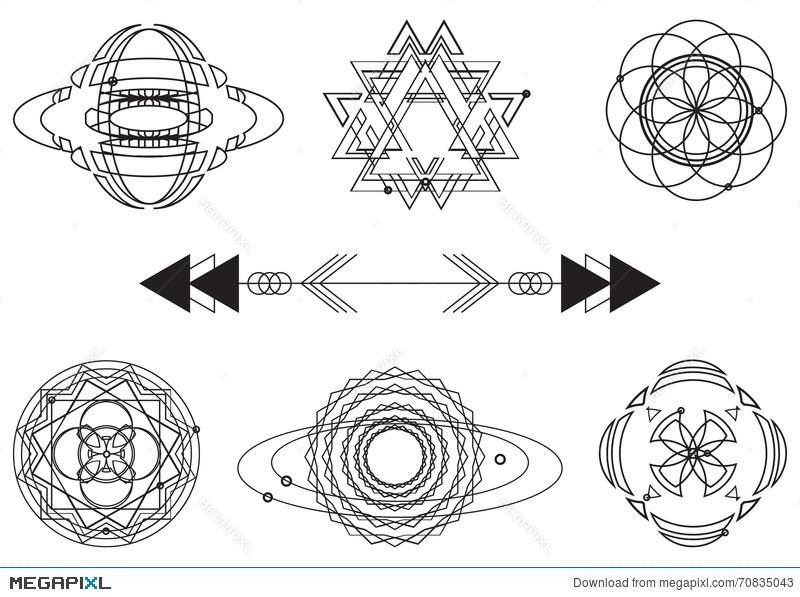 800x597 Sacred Geometry, Vector Graphic Design Elements. Set Illustration