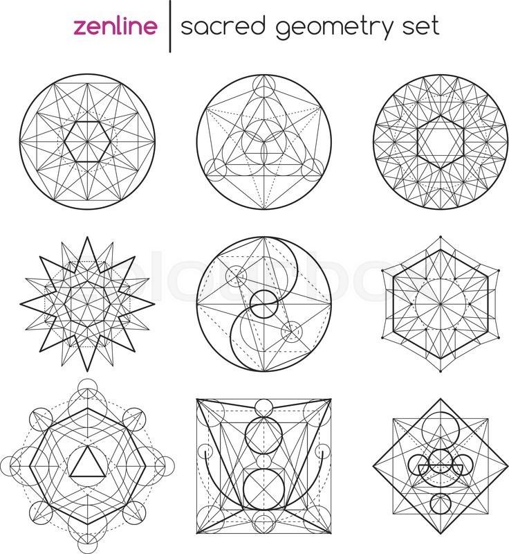 736x800 Abstract Vector Sacred Geometrical Figures, Spiritual Geometry