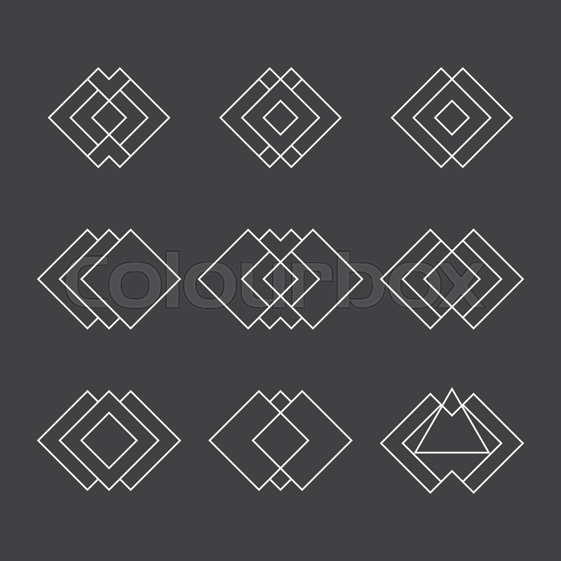 800x800 Set Of Trendy Geometric Shapes. Ethnic Tattoo. Hipster Logotypes