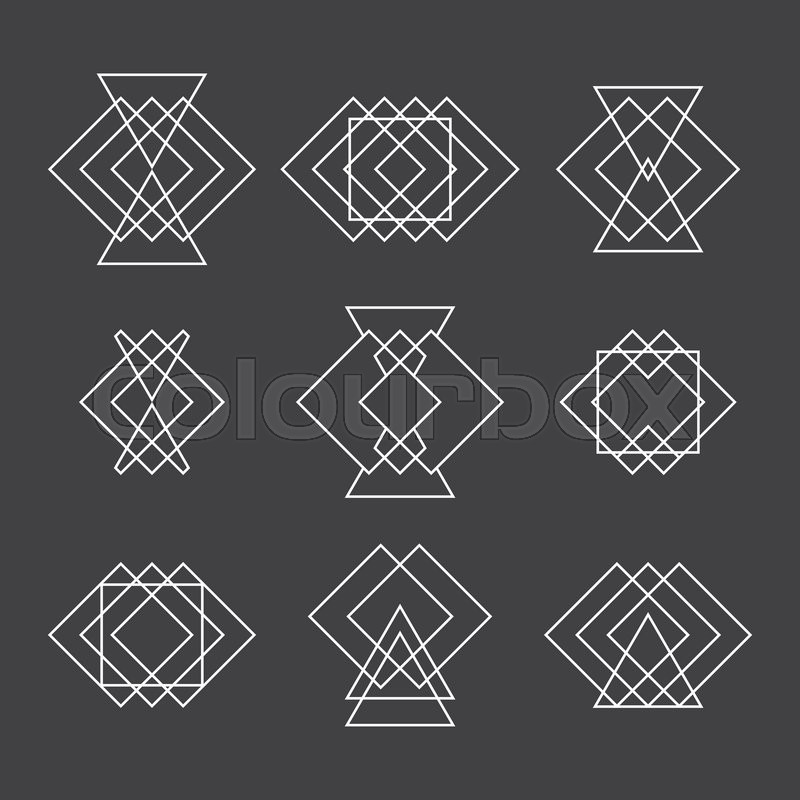 800x800 Set Of Trendy Geometric Shapes. Hipster Logotypes Collection