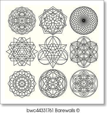 362x382 Art Print Of Sacred Geometry Symbols Vector