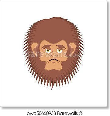 362x382 Art Print Of Bigfoot Sad Emoji. Yeti Wailful Emotion Face