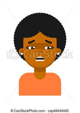 334x470 Sad Facial Expression Of Black Girl Avatar. Young African Woman