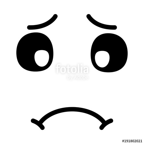 500x500 Cute Kawaii Sad Face Expression Cartoon Vector Illustration Black