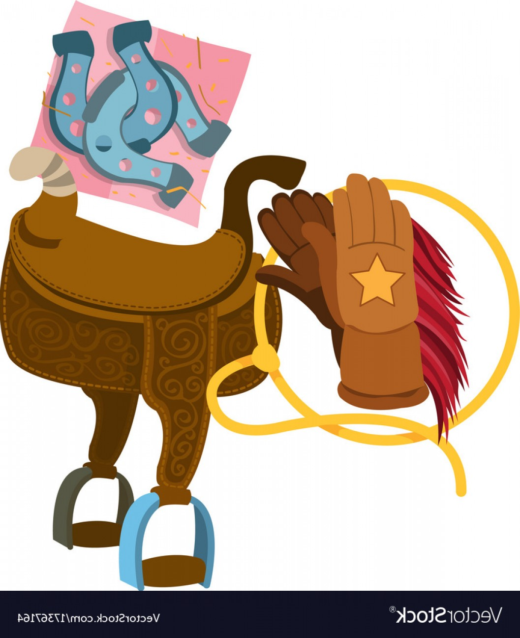 1057x1296 Wild West Saddle Gloves Rope And A Horseshoe Vector Arenawp