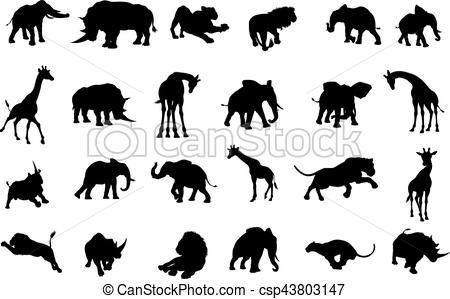 450x299 African Safari Animals Silhouettes. A Safari African Animal