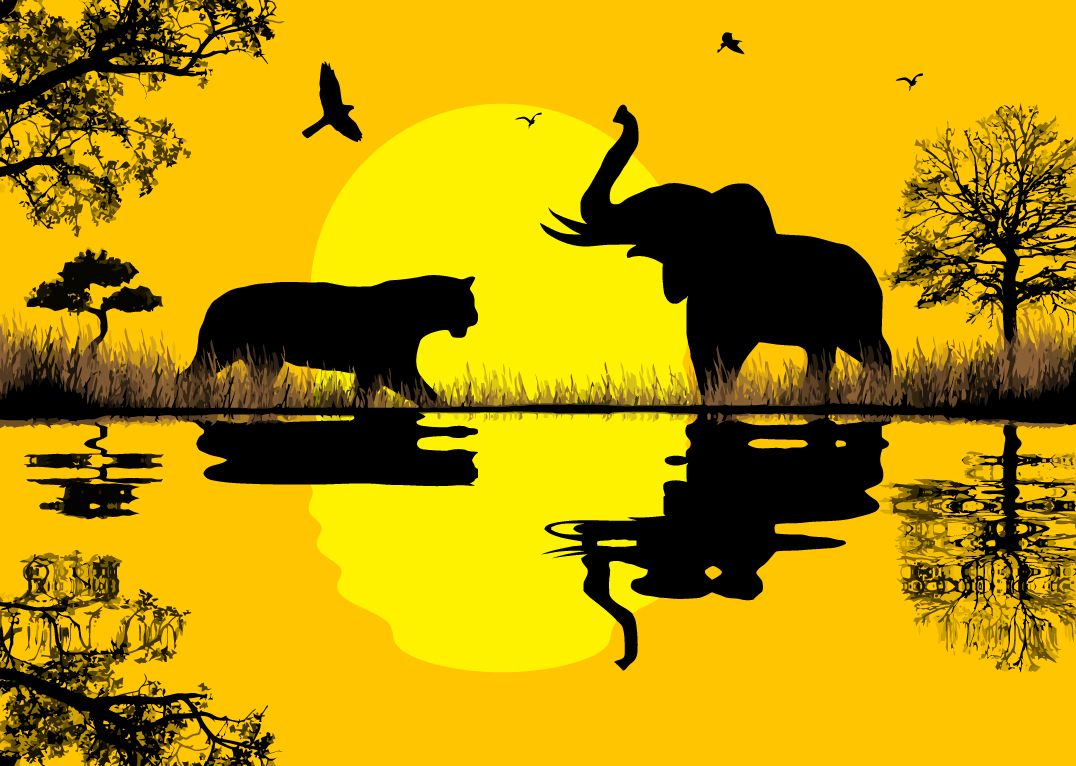 1076x766 Free Vector African Safari Vector Graphic Available For Free