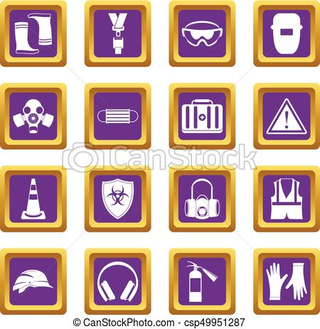 450x463 Safety Icons Set Purple. Safety Icons Set In Purple Color Isolated