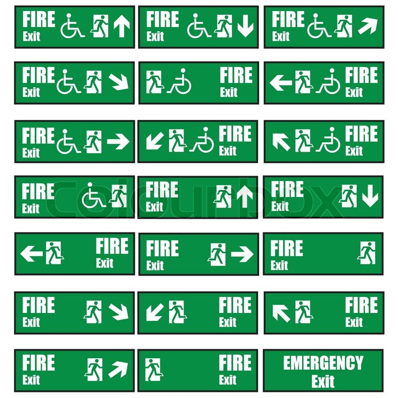 800x800 Green Safety Sign. Vector Emergency Exit Signs Set On Green