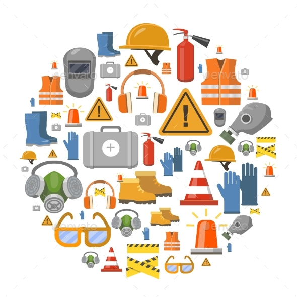 590x590 Safety Work Flat Vector Icons Round Background By Lightgirl