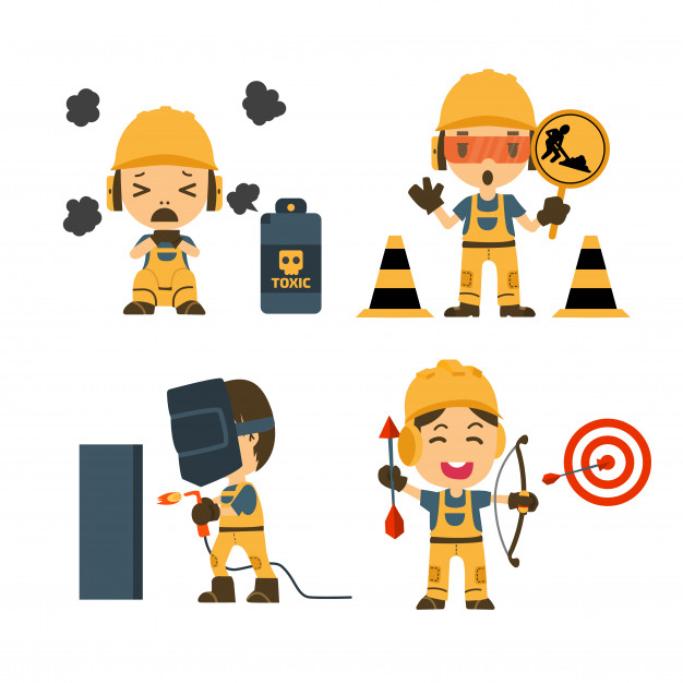 626x626 Set Of Construction Worker, Accident Working, Safety First, Health