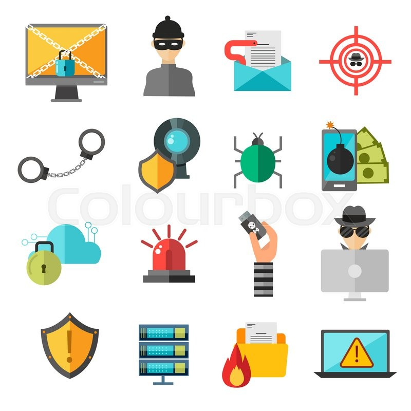 800x800 Computer Safety Vector Icons. Computer Safety, Virus Or Hackers