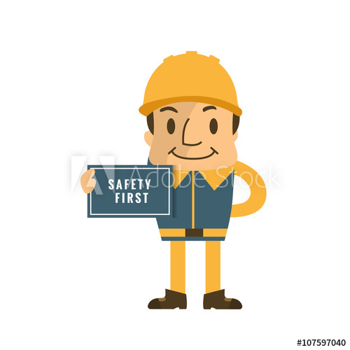 500x500 Construction Worker Holding Safety First Sign, Safety First