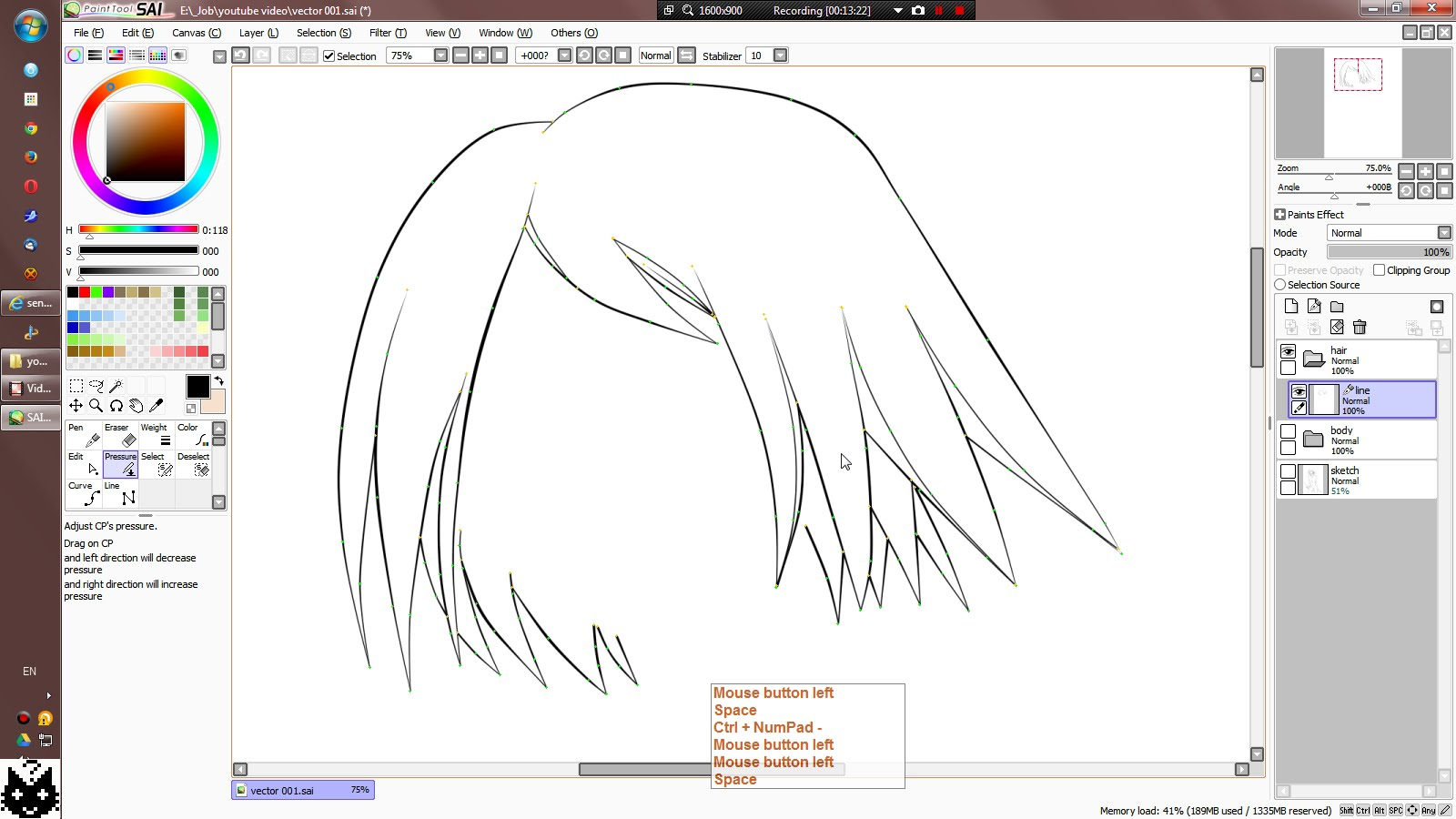 1600x900 Easy Paint Tool Sai] Vector Work Tutorial How To Part 001.