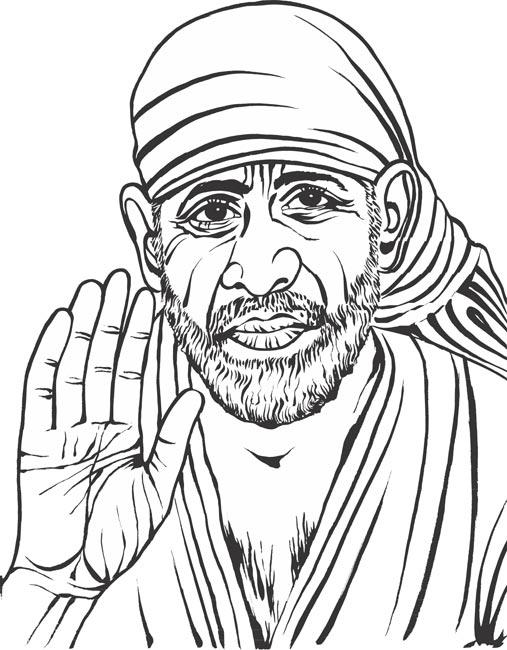 507x650 Shirdi Sai Baba Stipple Effect Vector Illustration Royalty Free