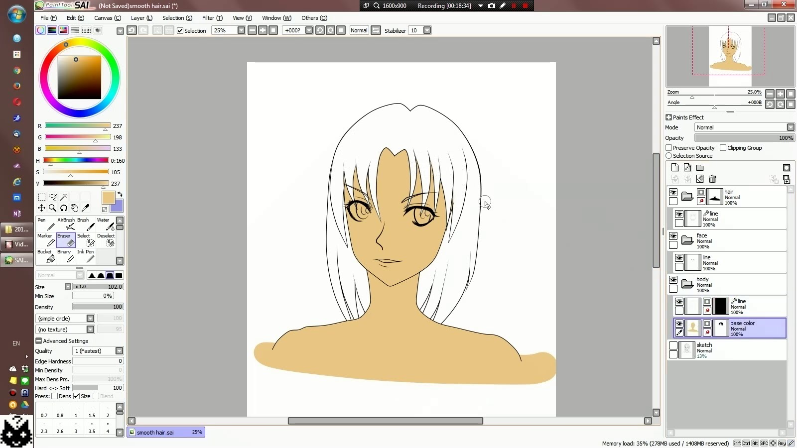 1600x900 Smooth Hair Line Vector Work In Easy Paint Tool Sai