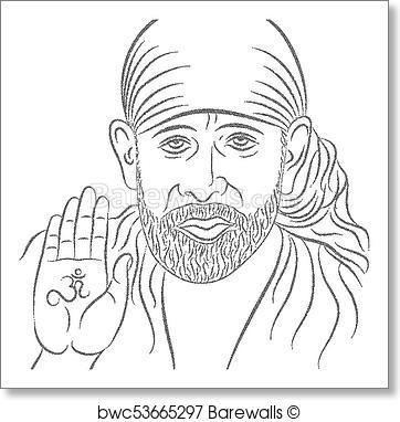 362x382 Art Print Of Sai Baba Stipple Effect Barewalls Posters Amp Prints