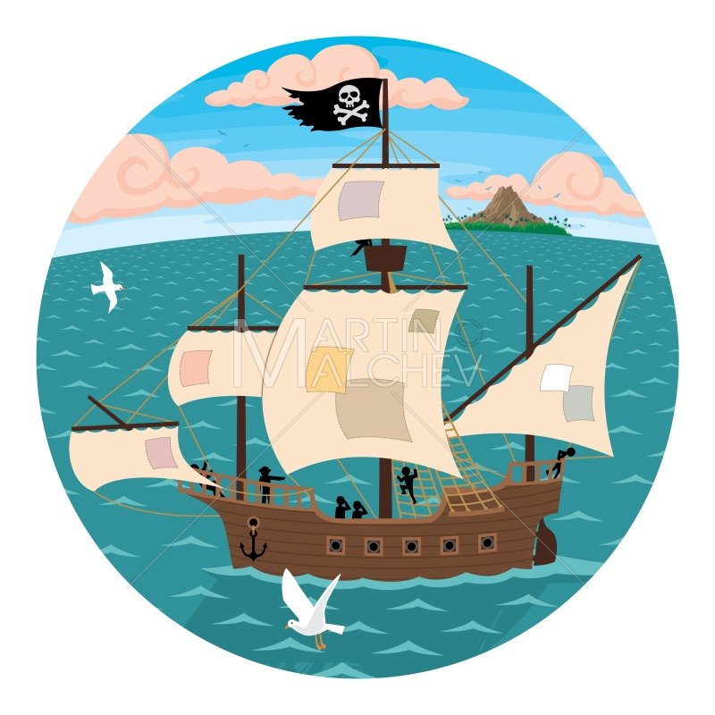 800x800 Pirate Ship Vector Cartoon Illustration. Jolly Roger Sail Etsy