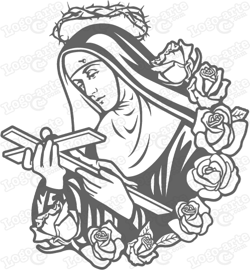 504x544 St Rita Of Cascia Vector For Cutting Plotter And Engraving.