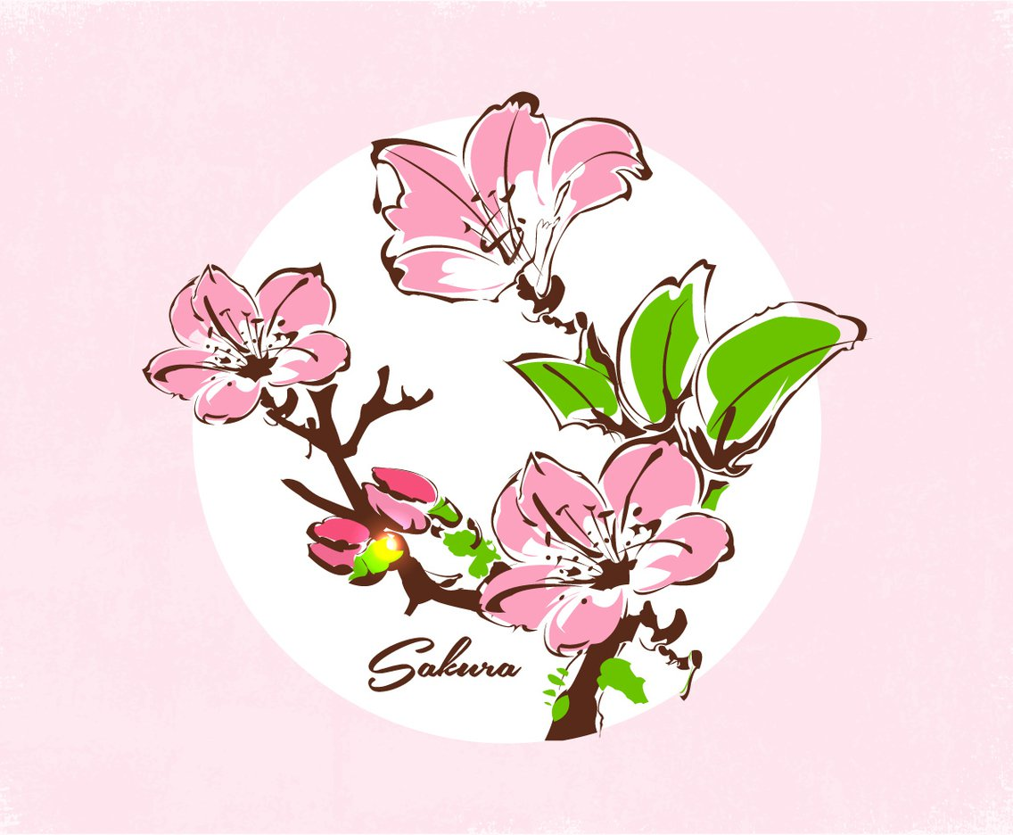 1136x936 Ink Painting Cherry Blossom Vector Art Amp Graphics