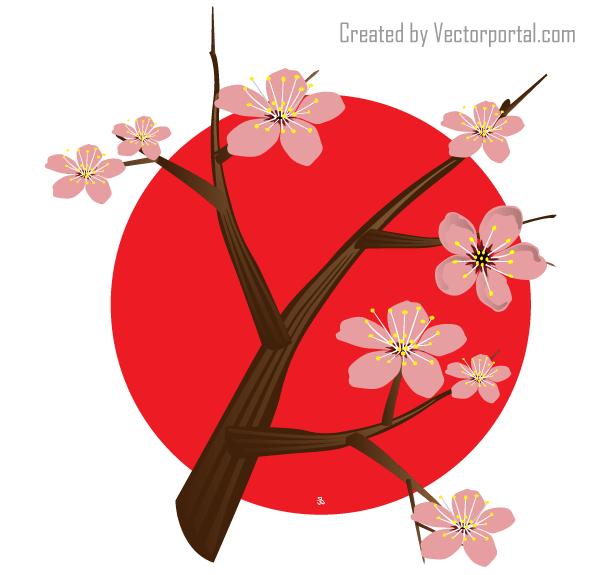 600x575 Japanese Cherry Blossom Vector Japanese Vectors
