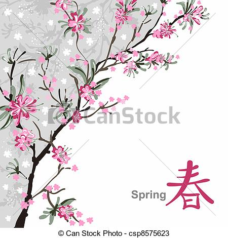 450x470 Japanese Painting Of Flowers, Background With Sakura Blossom