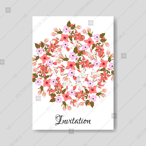600x600 Orange West Indian Jasmine Sakura Flower Wedding Invitation Card