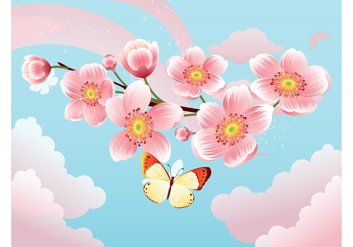 1400x980 Sakura Flower Free Vector Art