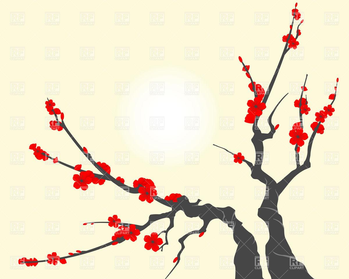 1200x960 Sakura Blossom Branch, With Cherry Flowers Vector Image Vector