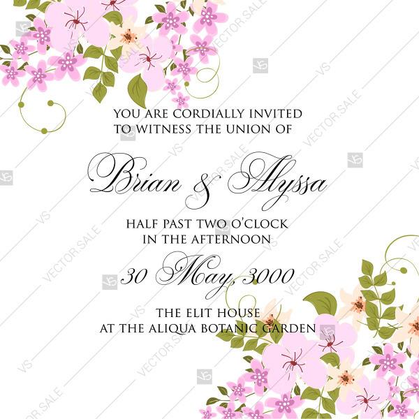 600x600 Pink Rustic Ornament Floral Sakura Vector Marriage Invitation