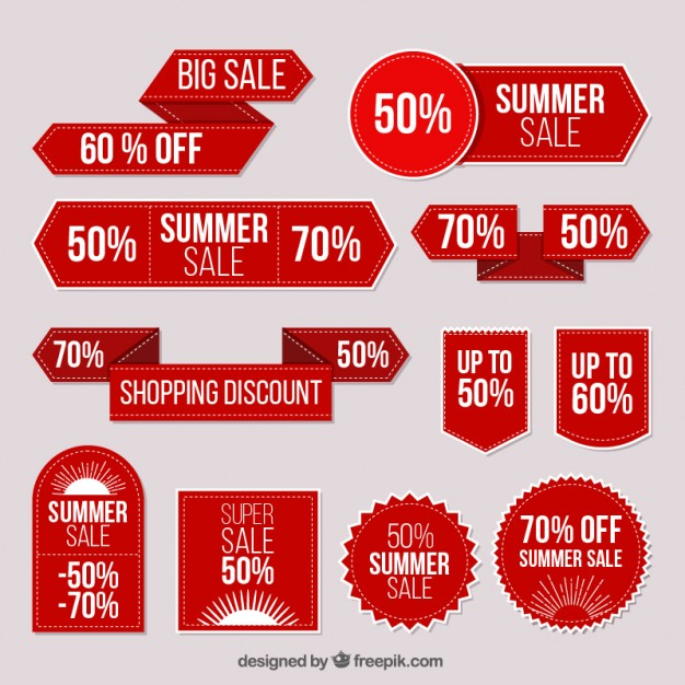 626x626 Collection Of Red Stickers Summer Sale Vector Free Download