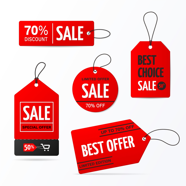 600x600 Red Discount Sale Tag Vector Material Free Download