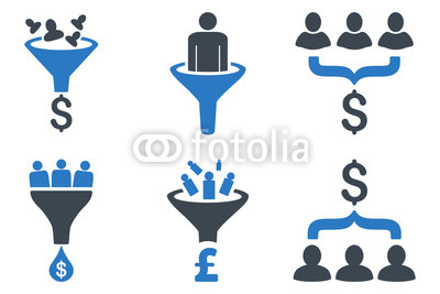 400x267 Sales Funnel Vector Icons. Icon Style Is Bicolor Smooth Blue Flat