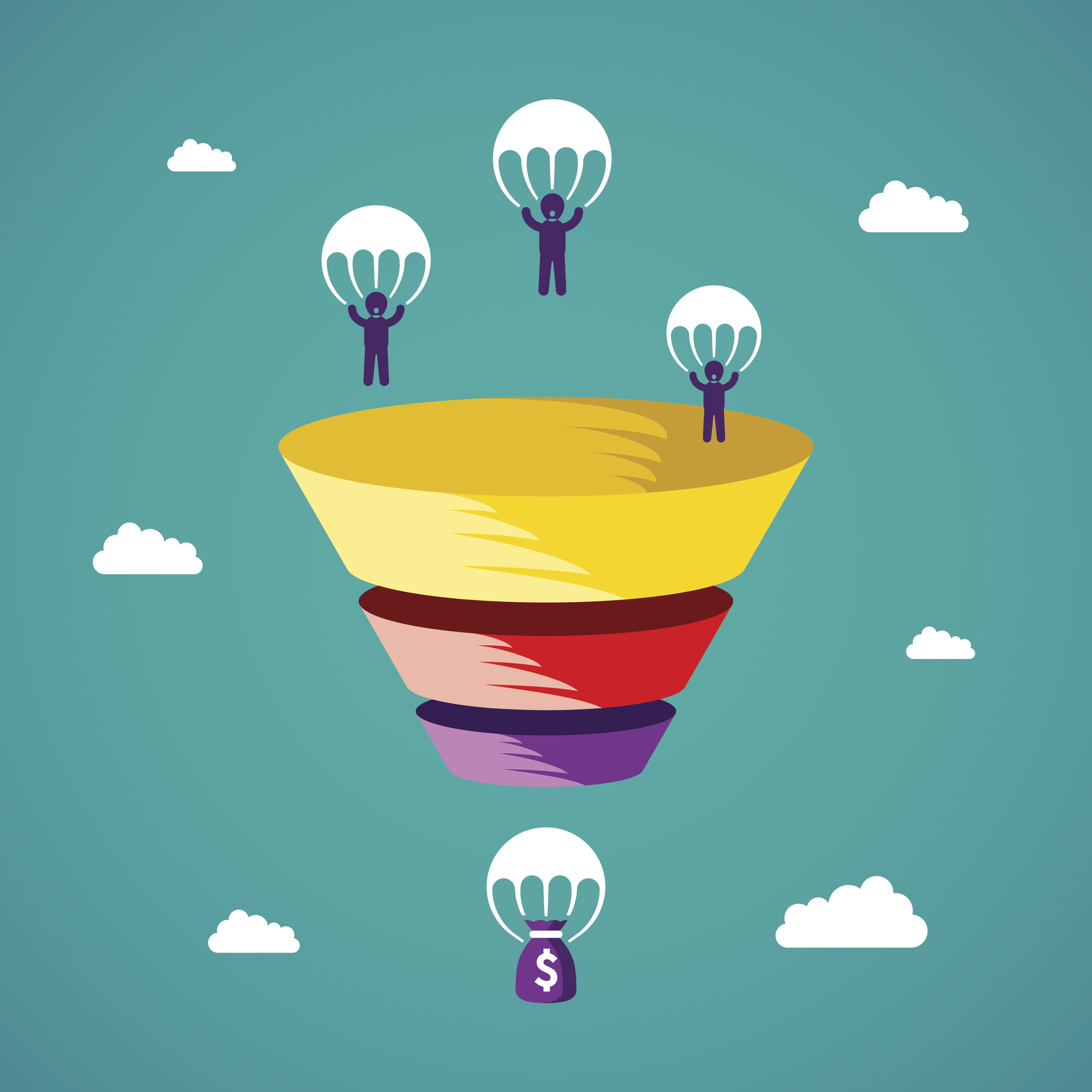 1732x1732 Sales Funnel Vector Concept In Flat Style Growth Marketing