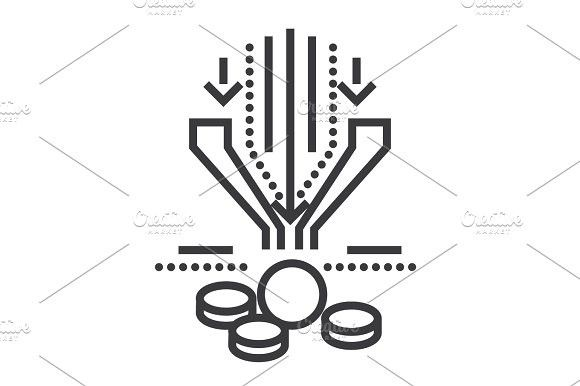 580x386 Sales Funnel Vector Line Icon, Sign, Illustration On Background
