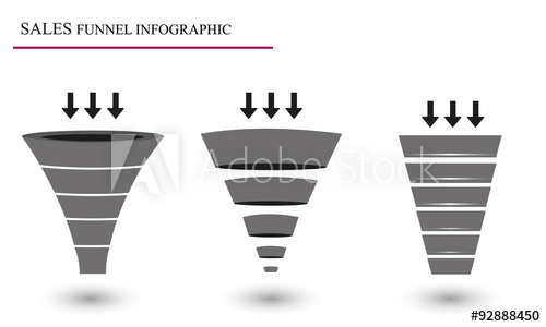 500x300 Sales Funnel. Vector Illustration.