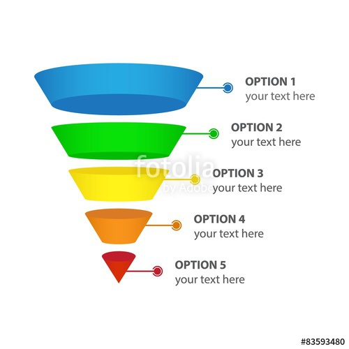 500x500 Vector Infographic Of Sales Or Conversion Funnel Stock Image And