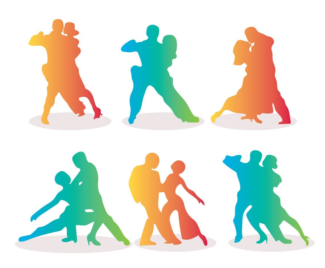 1136x936 Salsa Dance Silhouette Gradient Colors Vectors Vector Art
