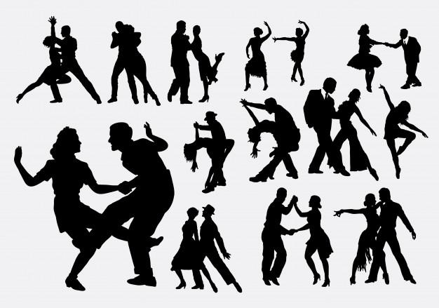 626x439 Tango And Salsa Dance Silhouette Vector Premium Download