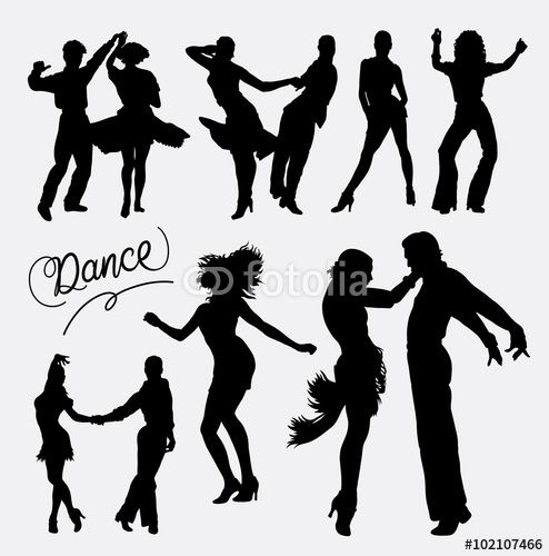 494x500 Vector Tango Salsa 4, Couple Happy Dance Event Silhouette. Good