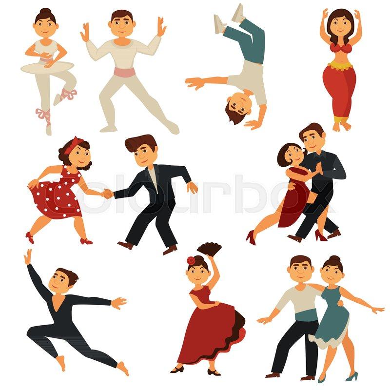 800x800 Dancing People Dance Different Dances. Vector Flat Cartoon